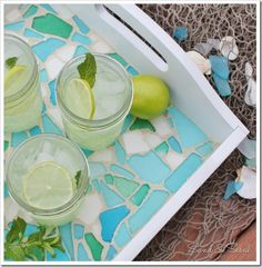 Sea Glass Mosaic Tray tutorial with list of materials and step by step directions