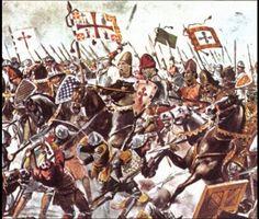 Carga de cavalaria portuguesa contra a infantaria castelhano-aragonesa durante a Batalha de Toro.