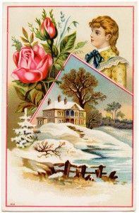 free printable digital image design resource ~ Victorian trade card ~ girl, flowers, scene