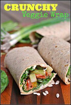 Crunchy Veggie & Hummus Wrap (use Udi's #glutenfree tortillas) | #dairyfree #vegan