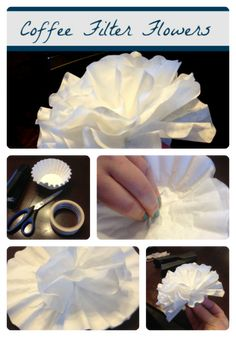 Coffee Filter Flowers dipped in coffee for the tips (or the whole thing) for a brown flower look (Bottle Flower Crafts) Coffee Filter Crafts, Coffee Filter Flowers, Coffee Filters, Coffee Crafts, Crafts To Make, Fun Crafts, Crafts For Kids, Paper Crafts, Homemade Crafts