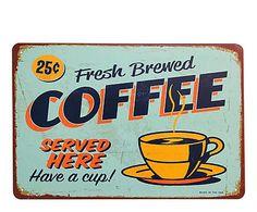 Placa decorativa de metal Coffee - 20x30