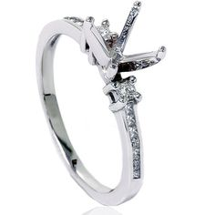 Princess Cut 1/2CT Diamond Engagement Ring Semi Mount Setting Mounting Channel Set 14K White Gold Size 4-9 on Etsy, $454.03 CAD
