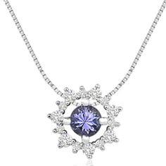 Pingente Ouro Branco Tanzanita e Diamantes
