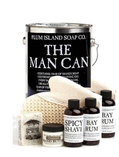 The Man Can Grooming set. A great gift for men with style who love taking care of themselves and ensuring everything from hair down to their toe nail is picture perfect. Also an awesome decor addition to your bathroom