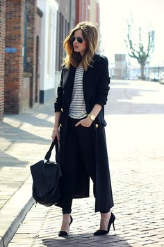 Zara Coat, Asos Leather Backpack - Black and stripes - Christine R.