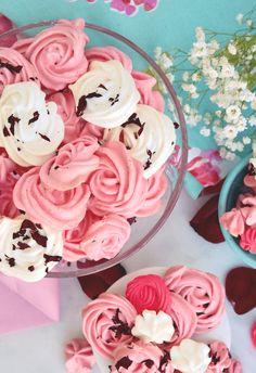 Easy Rose Meringue Cookies Recipe | The Foodie Affair Rose Meringue Cookies, Baked Meringue, Meringue Cookie Recipe, Rose Cookies, Cookies And Cream, Candy Recipes, Cookie Recipes, Dessert Recipes, Simple Rose