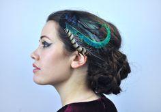Feather Fascinator Hair Clip in Glossy Black by FloraAndTheFox