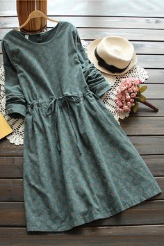 3 colors-- vintage print slim waist lacing long-sleeve o-neck one-piece dress drawstring full dress 2016 autumn _ {categoryName} - AliExpress Mobile Version - Trendy Dresses, Cute Dresses, Casual Dresses, Linen Dresses, One Piece Dress, Dress Up, Dress Long, Jw Mode, Hijab Fashion