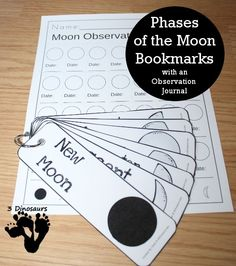 Free Phases of the Moon Bookmarks with an observation journal kids can fill out -options for both hemispheres - 3Dinosaurs.com