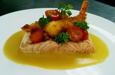 Poached Salmon with Fried Shrimp Tempura, Cherry Tomatoes and Miso Butter Sauce