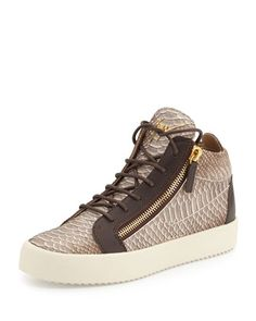 Men\'s Snake-Embossed Leather Mid-Top Sneaker, Light Brown by Giuseppe Zanotti at Neiman Marcus.