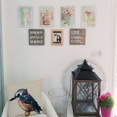 Interior design. Spring decor with bird and pastel flowers