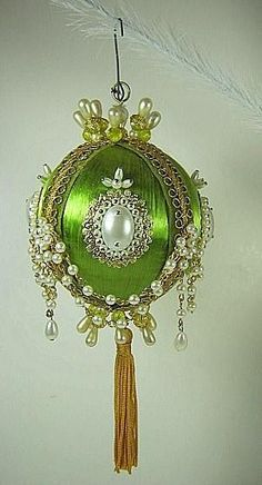 Vintage BEADED Christmas ORNAMENT Green Satin HANDMADE Pearls Tassel Satin by savannah