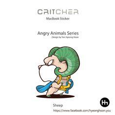 macbook sticker Sheep angry animals
