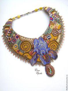 По Климту - разноцветный,Климт,ирис,колье с цветком,ольга орлова,опал натуральный