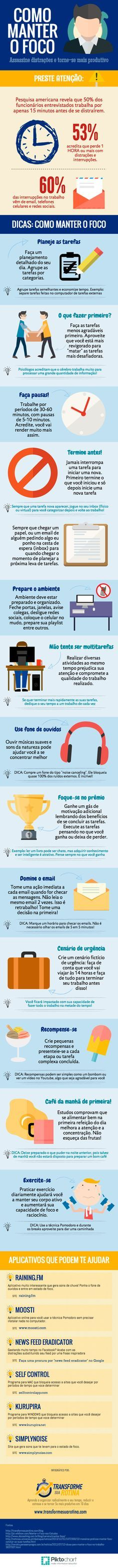 Como manter o foco! #foco #organização #infográfico