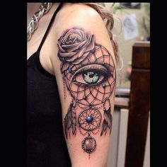 Dreamcatcher and Eye Sleeve Tattoo Design.
