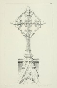 Designs for Gothic ornaments & furniture, 1854. Fleur- de-lis finial. [Open Library, archive.org]