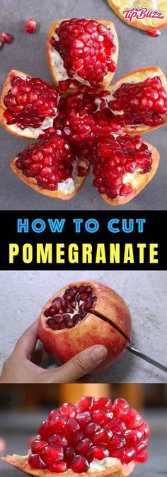 How to Cut and Juice a Pomegranate {+Health Benefits} – TipBuzz Learn how to cut a pomegranate quickly and easily using this simple step-by-step guide. Pomegranate makes a delicious and healthy snack with sweet, tart flavors and beautiful colors. How To Cut Pomegranate, Pomegranate Health Benefits, Cooking Tips, Cooking Recipes, Cooking Food, Food Prep, Food Food, Healthy Snacks, Healthy Recipes