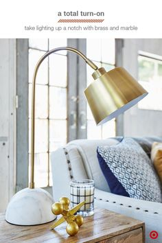 This lamp takes traditional task lighting to a whole new level. With a genuine marble base and brass shade, it is a perfect fit anywhere in your home. Use it couch side, bedside, or at a desk to add warm, functional light to your space.