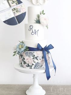 Our 'Rose' design in navy, blue and blush printed onto a wedding cake by the wonderful We think it looks amazing. Blush Pink Wedding Cake, Luxury Wedding Cake, Blush Pink Weddings, Cool Wedding Cakes, Elegant Wedding Cakes, Wedding Cake Designs, Wedding Cake Toppers, Rose Wedding, Wedding Cake Guide