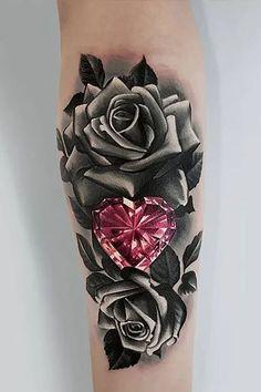 Tiny Rose Tattoos, Flower Thigh Tattoos, Black Rose Tattoos, Cool Small Tattoos, Cool Tattoos, Side Tattoos, Black And White Rose Tattoo, Best Sleeve Tattoos, Sleeve Tattoos For Women
