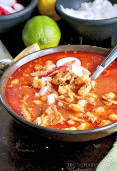 Pozole Mexican Soup - pork shoulder, bay leaf, salt, garlic, red chile sauce, red chili powder, cumin, white hominy