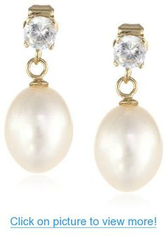 14k Yellow Gold 8-8.5mm Freshwater Cultured Teardrop Pearl and 4mm Round Dangle Earrings (0.65cttw)