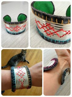 Cross stitch cuff made from a metal can! Diy Jewelry, Beaded Jewelry, Jewelery, Silver Jewelry, Jewelry Making, Crafts To Make, Arts And Crafts, Tin Tiles, Metal Tins