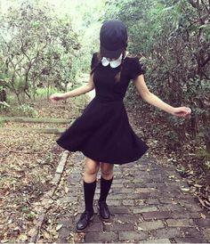 All hail the black dress // Black Velvet White Collar Dress