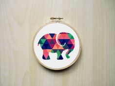 Modern Counted Cross Stitch Pattern | Colourful Patterned Elephant Silhouette | Instant Download PDF (2.53 GBP) by RhiannonsCrossStitch
