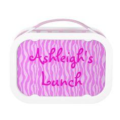 Personalized Pink Zebra Striped Lunch Box