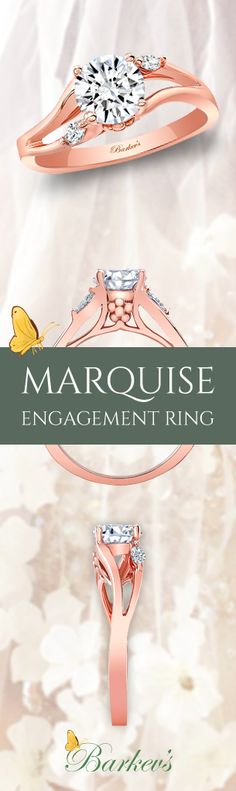 Simple, unique and sophisticated. Barkev's Rose Gold Marquise Engagement Ring Style #8072LP