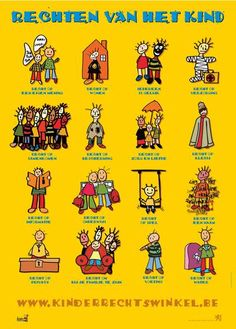 Poster kinderrechten School Organisation, Human Rights, Wwii, Van, Teaching, Projects, Kids, Middle, Africa