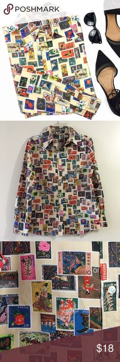 """Vintage World Postage Stamps Print Button Down Top Ok, this is definitely a one-of-a-kind, a set you apart from the rest kind of shirt. The print is soo freakin' amazeballs, super unique- it has postage stamps from all over the world. It does not have a size/material/brand tag. The material reminds me of polyester. The best part is that it does not wrinkle, so yaaaas🙌🏼! I'd say it fits like a Small/Medium but please pretty please see measurements👉🏼Length: 27"""" Bust: 21"""" Waist: 19"""" Sleeve…"""