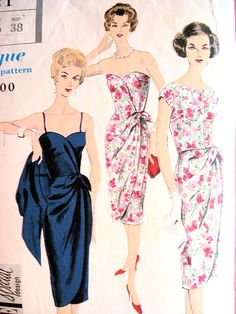 1950s STUNNING Evening Cocktail Party Dress and Jacket Pattern VOGUE Special Design 4021 Front Wrapped Strapless Sarong Style Dress Bust 34 Vintage Sewing Pattern
