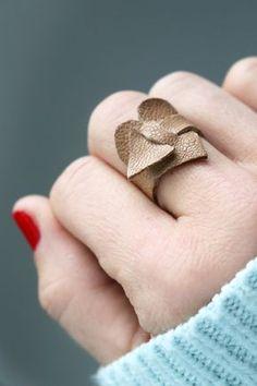 Got leather scraps? Make a cute heart ring!