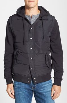 Free shipping and returns on RVCA Puffer Fleece Hooded Jacket at Nordstrom.com. This lightweight jacket designed with a puffer vest body and soft cotton-blend sweatshirt hood and sleeves create a cool layered appearance without the bulk.