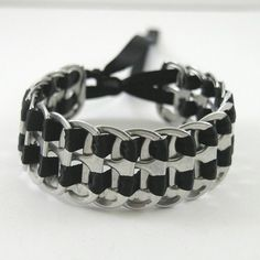 recycled pop tab bracelet - black, stacked weave,  7  inch