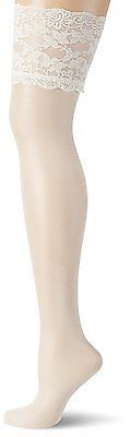 Medium, Weiß (Champagner), GLAMORY Women's Luxury Suspender Stockings, 20 Den NE