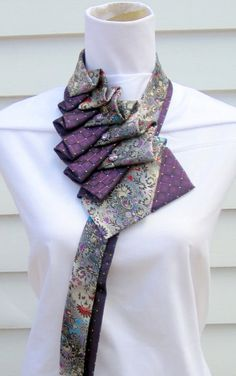 Floral and purple silk ruffle tie scarf with by TiedToPerfectionNH