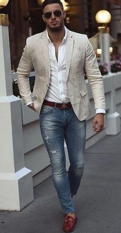 Hombre moda casual - Fashion Tutorial and Ideas Blazer Outfits Casual, Stylish Mens Outfits, Casual Dresses, Mens Fashion Summer Outfits, Outfits Hombre, Outfit Jeans, Mode Masculine, Business Casual Men, Men Casual