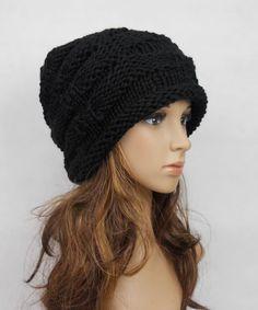 Slouchy woman handmade knitting hat black clothing cap