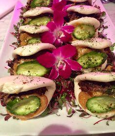Hoisin Braised Beef Bao w/ Coconut Peanut Sauce & Pickled Cucumbers