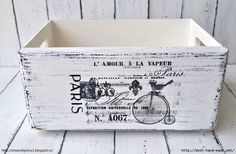 ~From Paris with ♥ ~ painted memory box; image transferred using waterslide decal paper. Decoupage Furniture, Decoupage Box, Decoupage Vintage, Vintage Crafts, Vintage Decor, Painted Furniture, Vintage Clocks, Deco Furniture, Furniture Design