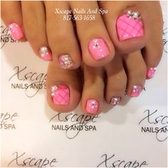 Check out this collection of 15 Valentine's Day toe nail art designs & ideas of Pedicure Nail Art, Pedicure Designs, Toe Nail Designs, Toe Nail Art, Pink Pedicure, Pretty Toe Nails, Cute Toe Nails, Fancy Nails, My Nails