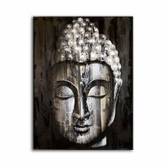 Buddha Wall Art Painting ~ Oil Painting on Canvas ~ Silver in Art, Artists (Self-Representing), Paintings | eBay
