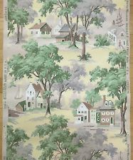 Vintage 1940s Wallpaper --Village & Water Scene-- double roll 45ft 5 rolls