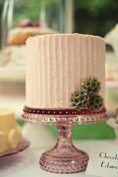 Pink Striped Buttercream Cake
